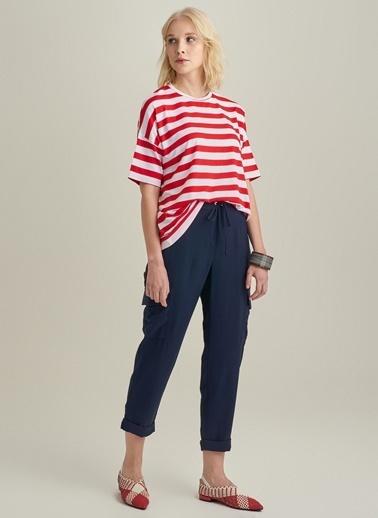 Ng Style Çizgili Basic Bluz Kırmızı